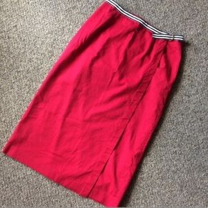 Red Talbots wrap skirt with belt